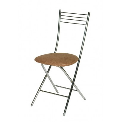 Складной стул Хлоя хром коричневый кож/зам