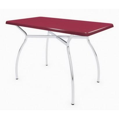 Стол прямоугольный 110x60 Дуолит Э302 на подстолье Тирамису хром