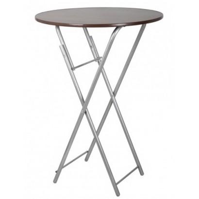 Высокий складной стол d80см орех, бриллиант