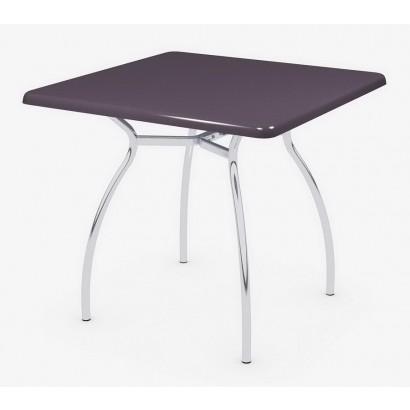 Квадратный стол для кафе 80х80 Э402 на подстолье Тирамису хром