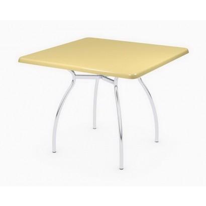 Стол 90х90 квадратый на подстолье Тирамису хром, Э102