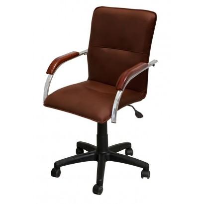 Кресло Самба лифт хром кож/зам Экотекс 3068 красное дерево