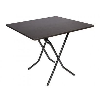 Складной обеденный стол 900x900 С-104-02 венге каркас черный глянец