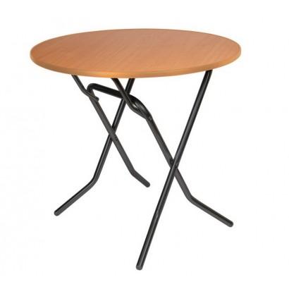 Складной круглый стол С-104-03 вишня каркас черный глянец