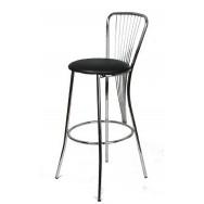 Барный стул Нерон хром черный кож/зам