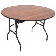 Складной круглый банкетный стол С-107 орех каркас черный муар