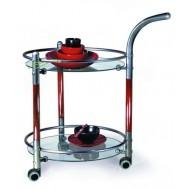 Сервировочный столик С-4 Металлик / Махагон / прозрачное стекло