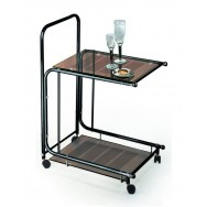 Придиванный сервировочный столик С-9 черный / бронзовое стекло