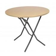 Складной круглый стол С-104-03 бук каркас черный глянец